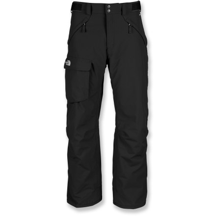 Ski The North Face Freedom short-length, insulated snow pants combine high-performing insulation with reliable waterproof protection, keeping you dry and warm from first run to last light. Quiet and abrasion-resistant HyVent(R) 2-layer coated nylon is completely waterproof, windproof and breathable; fully sealed seams prevent moisture seepage. 60g Heatseeker(TM) Eco insulation, 100% recycled polyester fibers, provides warmth that is extremely resilient, water repellent and hypoallergenic. Articulated knees aid in fit, allowing freedom of movement. Warmth is regulated by allowing cool, dry air to flow in through mesh gussets while upper thigh vents dump excess heat and moisture. Features zippered handwarmer pockets and a single, roomy cargo pocket. Rip-and-stick adjustment tabs at side of waist and zippered, snap-closure fly secure the fit. StretchVent(TM) gaiters with gripper elastic seal out snow around boots and retain warmth. Reinforced cuffs resist abrasion from boots, boards and skis. Buddy lift clip keeps your pass close at hand. Pant-a-lock system lets you connect The North Face Freedom insulated pants to compatible jackets (sold separately). - $111.93