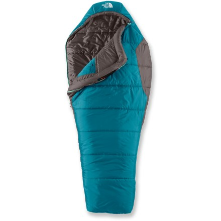 Camp and Hike The North Face Aleutian 3S women's sleeping bag is a great choice for those looking for a lightweight, highly-compressible 3-season synthetic bag at a great price. Heatseeker(TM) insulation offers a great warmth-to-weight ratio, is highly compressible and is extremely durable, making it ideal for cold weather activities. Offset, layered construction prevents cold spots and creates consistent warmth. Full-length draft tube backing the zipper keeps the warmth in and the cold out. Vaulted footbox allows natural foot movement and eliminates excess lateral space, increasing thermal efficiency to keep your feet warm and comfortable. User-friendly features: adjustable hood and chest drawcords, easy-grab zipper pull tabs and zippered internal chest pocket. Silky nylon taffeta lining feels soft next to your skin. Includes roll-top stuff sack. - $89.93