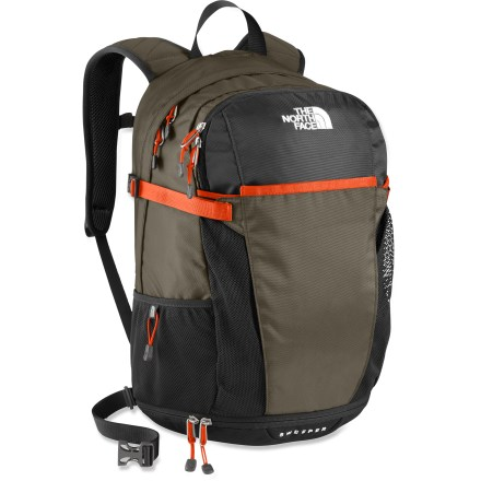 Camp and Hike The North Face Sweeper pack offers ample storage for day-tripping adventures of rugged trails or paved sidewalks. Injection-molded shoulder straps are flexible and well-ventilated; comfortable, stitched-foam back panel and removable webbing hipbelt add comfort and support. Large main compartment features a rip-and-stick accessory pocket and a universal sleeve that holds most 15 in. laptops. The North Face Sweeper pack features a separate compartment in the bottom that is perfect for an extra pair of shoes or boots. Large, stretch-mesh pocket on the front holds bulky items; mesh side pockets are perfect for water bottles. This pack is endorsed by the American Chiropractic Association, recognizing the comfort and function of its shoulder straps, back panel and interior organization. - $47.93