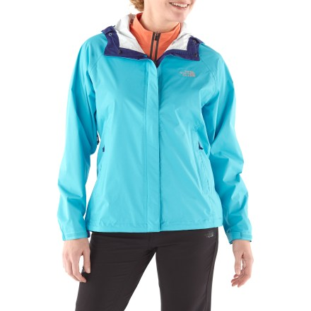 Snowboard The North Face Venture jacket is light and compressible, engineered to withstand severe rain, and styled for everyday use. Venture out and explore, no matter what Mother Nature has in store. The Venture jacket is a staple that every outdoor enthusiast will appreciate. HyVent(R) EC 2.5-layer substitutes natural (bean-derived) castor oil for 50% of the petroleum-based materials previously used in the manufacturing process. HyVent EC maintains excellent waterproof, breathable performance; it's ideal for spring skiing and snowboarding, as well as urban and city hiking. HyVent is lightweight and packable, moves easily over layers and is more breathable than unlined, treated fabrics. All seams are sealed for complete protection. Fully adjustable brimmed hood protects your head from precipitation and allows good visibility; soft lining guards chin against abrasion. Rip-and-stick stormflap prevents weather penetration through the full-length front zipper. Pit zippers allow cooling airflow as your activity heats up. Hem drawcord and elastic cuffs with rip-and-stick closures seal out the weather. Zip hand pockets; jacket stows in left pocket. The North Face Venture has a regular cut for easy layering; slightly long length enhances protection. - $68.93