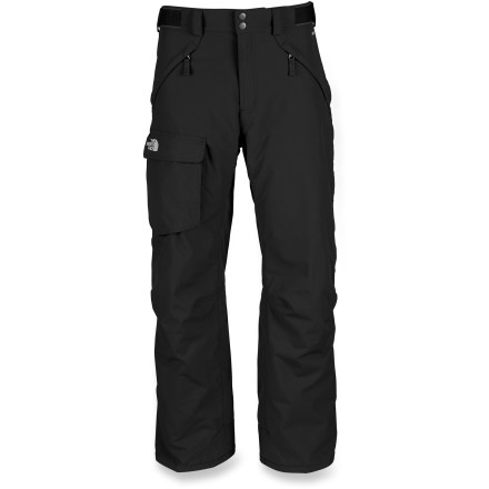Ski The North Face Freedom long-length shell pants provide reliable protection from the wet and cold when you're in the steep and deep. Quiet and abrasion-resistant HyVent(TM) coated nylon is completely waterproof, windproof and breathable; fully sealed seams prevent moisture seepage. Performance Thermoliner I polyester lining holds in warmth, wicks moisture and eases layering. Chimney Venting(TM) uses StretchVent(TM) gaiters and outer thigh vents with mesh gussets to control airflow and regulate temperature. Features zippered handwarmer pockets and a single, roomy cargo pocket; articulated knees aid in fit, enhancing freedom of movement. Rip-and-stick adjustment tabs at side of waist and zippered, snap-closure fly secure the fit. StretchVent gaiters with gripper elastic seal out snow around boots and help regulate warmth. Reinforced cuffs resist abrasion from boots, boards and skis. Buddy lift clip keeps your pass close at hand. Pant-a-locks secure pants to coordinating jackets from The North Face. - $97.93