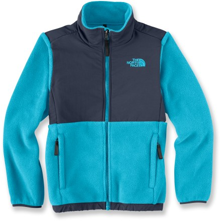 The North Face Denali jacket offers active girls warmth and comfort for serious outdoor play or just hanging out in style. Exceptionally warm, mostly recycled heavyweight Polartec(R) 300 Series fleece is treated with a Durable Water Repellent finish to shed water. Use of recycled PET polyester helps reduce oil consumption and air emissions. Abrasion-resistant nylon overlays on elbows and upper body and reinforced stitching in high-stress areas increase durability. Sleeves have built-in reach for extended range of motion. The North Face Denali jacket features zippered, tricot-lined handwarmer pockets, non-binding nylon/Lycra(R) spandex cuffs and elastic bound hem. Full-length front zipper extends high for neck protection; kids' write-on ID label helps prevent loss. - $75.93