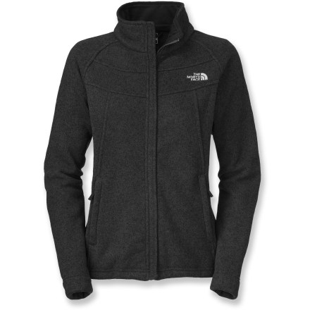 Camp and Hike The North Face Indi is a beautiful midweight fleece sweater that provides stellar warmth for relatively little weight. Use it during cool hikes and outings in crisp weather. Polyester sweater fleece exterior unzips to reveal brushed fleece inside that's comfortable and soft against skin. Exterior windflap hides front zipper for a less techy look. Drawcord hem seals in warmth. 2 brushed tricot-lined, zip hand pockets. The North Face Indi jacket has refined, tailored styling. - $120.00