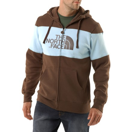 The North Face Barker Blocked Full-Zip Hoodie jacket is ready for any casual outing where warmth and style is a must. Cotton/polyester fleece blend fabric is warm and breathable. Contrasting color blocking at chest and sleeves. Hood features a drawcord closure. Kangaroo hand pockets. Closeout. - $36.83