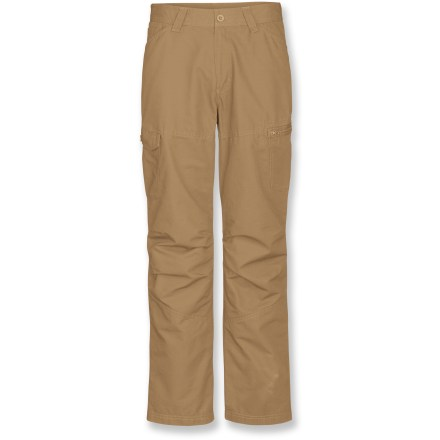Camp and Hike Don't compromise your comfort, ever! The North Face Mt. Defiance pants are made of washed organic cotton for softness and lasting wear. This pair comes in a 30 in. inseam. Made from textured, midweight organic cotton for breathable comfort and easy care; heritage wash softens the fabric so pants are comfortable from day 1. With a UPF 30 rating, fabric provides very good protection against harmful ultraviolet rays. Zipper fly and belt loops with button closure. Gusseted crotch allows unrestricted range of motion. The North Face Mt. Defiance pants have 2 hand pockets, 2 back pockets and 2 cargo pockets. Closeout. - $38.83