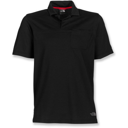 The North Face Tolowa Lite polo shirt by is made from an innovative merino wool fabric that dries fast to keep you comfortable. Made of a soft, nonirritating Minerale-merino(TM) merino wool and polyester fabric, the Tolowa Lite wicks away moisture, dries quickly and resists odors-naturally! Fabric provides UPF 15 sun protection, shielding skin from harmful ultraviolet rays. Shoulder seams are rolled forward, reducing bulk at the top of the shoulders for non-chafing comfort under backpack straps. 1 chest pocket; clean placket with snap closures. Closeout. - $44.93