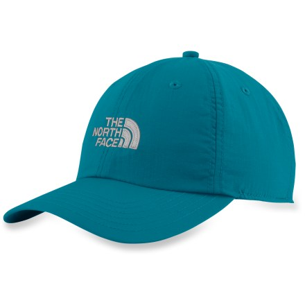 The North Face Horizon hat is perfect for hot weather excursions. Constructed from lightweight nylon and features a soft inner sweatband to add moisture-wicking comfort. With a UPF 50 rating, fabric provides very good protection against harmful ultraviolet rays. Adjustable headband with separating buckle features an elastic tensioner for a snug, personalized fit. Closeout. - $16.93
