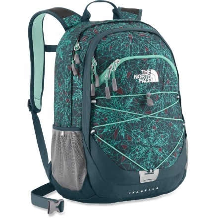 Camp and Hike The North Face Isabella daypack for women offers solid outdoor performance and moonlights as a school backpack or work bag. Panel-loading main compartment features 2 slip-in pockets, zippered mesh pocket and universal sleeve. Zippered front pocket features a basic organizer for pens, pencils, wallet, electronics and other essentials. Zippered stash pocket and 2 mesh side pockets keep small items and water bottles within easy reach. The North Face Isabella daypack features a simple bungee system on the front that secures a jacket or bike helmet to the outside of the pack. Injection-molded shoulder straps are flexible, ventilated and shaped to fit a woman's contours; the hipbelt can be removed when not needed. Stitched back panel provides load-carrying comfort. - $67.93