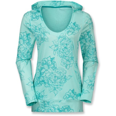 Fitness The North Face Tadasana VPR Re-Juve-I-Nate Hoodie outfits you in comfort after an intense yoga session. Polyester/elastane blend fabric is moisture wicking and quick drying. Scoop neckline, hood and long length offer a feminine fit. Closeout. - $48.93