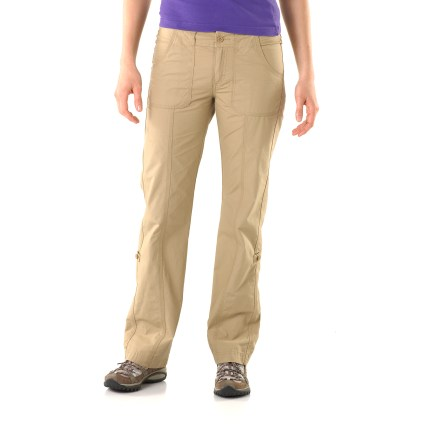 Camp and Hike The North Face Robertson pants are ideal for urban adventures. Breathable cotton canvas fabric has been prewashed for softness. Fabric provides UPF 50+ sun protection, shielding skin from harmful ultraviolet rays. Internal drawcord secures fit; legs can be rolled up and secured with tabs for ventilation in warmer temps. Robertson pants feature deep hand pockets, 2 button-close back pockets and 1 button-close cargo pocket. Closeout. - $28.83