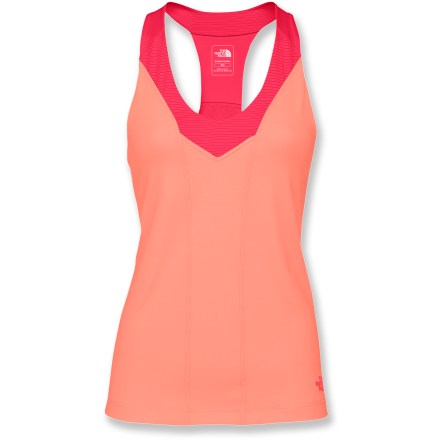 Fitness The North Face Tadasana VPR Sport tank top offers aspiring yogis comfortable fabric, a form-flattering fit and protection from UV rays. VaporWick(R) fabric is quick drying, wicks moisture away from your skin and has a UPF 50+ rating to protect from the sun's harmful rays. Nylon fabric is mixed with stretchy elastane fibers to create a garment that comfortably matches your shape and moves with you. Breathable panels are located over high-heat areas to enhance overall comfort. Features a modified, internal support bra for modest coverage. The North Face Tadasana VPR Sport tank top offer a slim fit. - $24.83