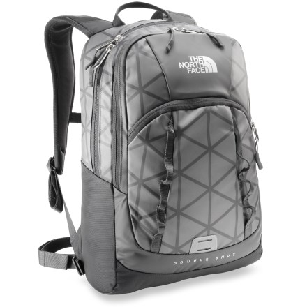 Camp and Hike The North Face Base Camp Double Shot daypack offers sleek and rugged performance for transporting the essentials in all kinds of weather. Constructed with the same durable, waterproof fabric as the legendary Base Camp duffel, this daypack is built to last-and keep your contents dry. Main compartment contains a padded laptop sleeve that fits most 15 in. laptops. Padded shoulder straps are contoured for load-carrying comfort and a women-specific fit. Padded back panel with breathable mesh helps keep you comfortable during intense activity and warm weather. The North Face Base Camp Double Shot daypack features a front pocket makes small items easy to find. - $80.93