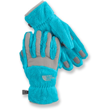 The North Face Denali thermal gloves offer girls warmth for cold-weather fun. These plush gloves feature heavyweight fleece and textured palms for grip. Taslan(R) nylon inserts across the knuckles and finger tops add durability. Gloves are cut to follow the natural curve of the hand, thus eliminating bulk, improving dexterity and reducing fatigue. The North Face Denali thermal gloves feature internal elastic at the wrists to help secure fit. - $29.00
