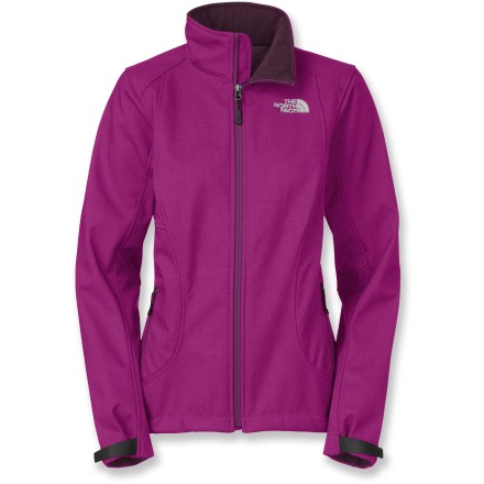 The North Face Chromium Thermal jacket is suitable for everyday winter wear. This windproof soft shell is constructed from fabric that maximizes protection in winds. Apex(TM) ClimateBlock fabric is 100% windproof, and its stretchiness ensures it's ultra comfortable. Luxurious, high-pile raschel fleece lining is silky-soft and provides extra cozy warmth against skin. Interior windflap behind front zipper holds out breezes; brushed collar lining is kind to delicate skin. Non-abrasive, molded cuff tabs and drawcord hem seal in warmth. The North Face Chromium Thermal jacket has zippered hand pockets. - $111.93