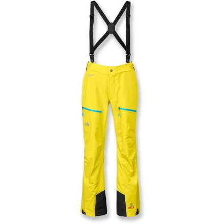 The North Face women's Zero pants are designed for bagging summits and exploring wintertime routes. They are rugged and versatile, and optimize protection in the worst conditions. Mountain pants are constructed from tough, breathable, waterproof Gore-Tex(R) Pro Shell fabric; all seams are sealed for complete protection. Full-length, 2-way leg zips ease use and venting. Low-profile, removable suspenders are sleek and unobtrusive; easy-to-use connection at 2 points on front waistband. Integrated gaiters prevent snow from entering boots; super-durable kick patches stand up to abuse. The North Face Zero pants have low-profile, twin thigh zip pockets that are generously sized and easy to access. Alpine silhouette hugs the body for a precise fit and uncompromising performance. The North Face Summit Series(TM) apparel is designed and tested for use in harsh environments. - $197.83
