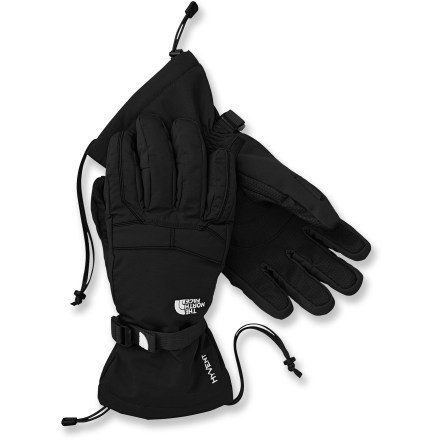 Ski When you're climbing high peaks and cruising down big mountains on your snowboard, you want the warm, waterproof Montana gloves from The North Face on your hands. HyVent(TM) 2L shells with waterproof, breathable inserts protect hands from the elements. Heatseeker(TM) polyester fiber insulation at the palms and backs of hands keeps you toasty warm on cold days. Articulated design improves warmth and blood flow by mirroring the natural, relaxed curve of your fingers. 5 Dimensional Fit(TM) uses 5 measurements of the hand to construct gloves with an accurate and consistent fit. Grippy polyurethane palms help you hold onto ski poles and other gear. Cinch the gaskets at the cuffs to lock out winter weather. The North Face Montana gloves have an external zippered stash pocket for holding small items. - $48.93