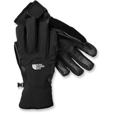 Fitness The tough, water-resistant and breathable S.T.H. gloves from The North Face have built-in stretch ensuring the dexterity required for technical use in mild winter conditions. Brushed tricot lining wicks moisture away from skin; water-resistant leather palms and reinforcements add durability. 5 Dimensional Fit(TM) uses 5 measurements of the hand to construct gloves with an accurate and consistent fit. Rip-and-stick cuff closures keep snow and cold air out. - $80.00