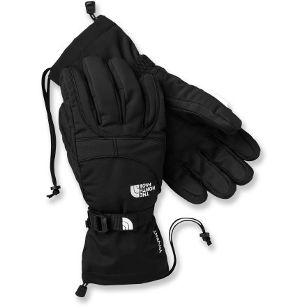 Ski When you're climbing high peaks and cruising down big mountains on your snowboard, you want the women's Montana gloves from The North Face on your hands. HyVent(TM) 2L shells with waterproof, breathable inserts protect hands from the elements. Heatseeker(TM) polyester fiber insulation at the palms and backs of hands keeps you toasty warm on cold days. Articulation improves warmth and blood flow by mirroring the natural relaxed curve of your fingers. Women-specific 5 Dimensional Fit(TM) uses 5 measurements of the hand to construct gloves with an accurate and consistent fit. Grippy polyurethane palms help you hold onto ski poles and other gear. Cinch the gaskets at the cuffs to lock out winter weather. The North Face Montana gloves have an external zippered stash pocket for holding small items. - $48.93