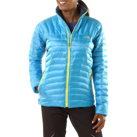The women's Thunder Micro down jacket from The North Face has been redesigned for 2012. This classic now weighs less, sports improved baffling and offers new FlashDry(TM) tech. Premium 800-fill-power European goose down is extremely compressible and offers exceptional warmth for its weight. FlashDry underarm panels, in conjuction with body temperature, accelerate evaporative cooling and drying; moisture quickly moves away from the body. FlashDry is a naturally derived, microporous fabric additive that dramatically improves drying time and breathability without adding weight or bulkiness or washing out. Slim down chambers with deep baffles capture and maintain warmth. Hem drawcord and elastic-bound cuffs. Zip hand warmer pockets are generously sized and easy to access. The North Face Thunder Micro jacket stuffs into its own handwarmer pocket for easy packing. The North Face Summit Series(TM) apparel is designed and tested for use in harsh environments. - $188.93
