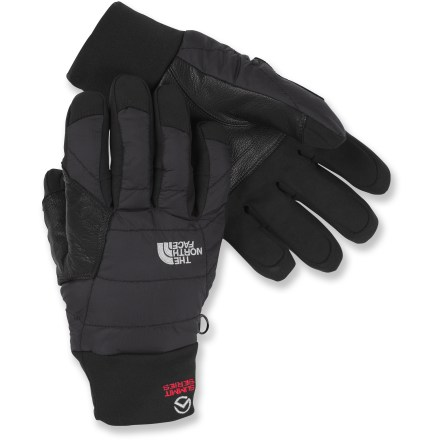 Ski Bring The North Face Redpoint Optimus gloves when you're climbing peaks or heading out skiing. They combine warm insulation with excellent dexterity for handling ropes and other gear in cold weather. Ripstop nylon shells have a Durable Water Repellent coating that helps shed moisture from snow. Heatseeker(TM) polyester fiber insulation at the palms and backs of hands keeps you toasty warm on cold days. Soft polyester lining wicks moisture off your hands and adds warmth. 5 Dimensional Fit(TM) uses 5 measurements of the hand to construct gloves with an accurate and consistent fit. Synthetic leather-reinforced palms stand up to frequent use and provide good grip for holding ski poles and other gear. The North Face Redpoint Optimus gloves have stretchy cuff gaskets helps keep snow and cold air out. The North Face Summit Series(TM) apparel is designed and tested for use in harsh environments. - $65.00