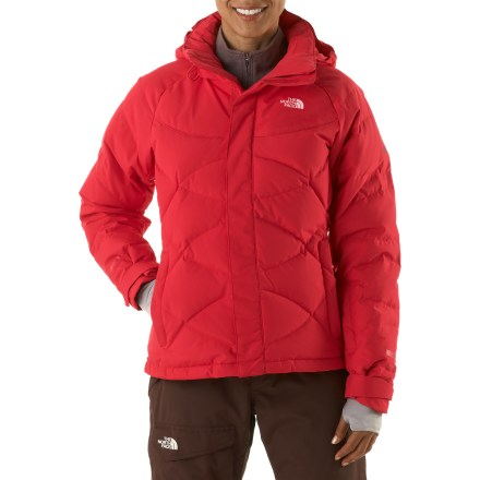 Ski The highly wind resistant, down-insulated Helicity jacket from The North Face keeps outdoor athletes warm during quests on undiscovered terrain in cold, windy weather. Built with WindStopper(R) plain weave polyester over quilted 700-fill-power down insulation; it blocks nearly all the wind and provides high warmth for its weight. Full-length front zipper features double stormflaps for extensive protection; brushed collar lining warms neck and is easy on tender skin. Zippered handwarmer pockets and a wrist accessory pocket provide space to stash a few key essentials. Internal storage options include a secure media pocket and a utility stash pocket. Powder skirt locks out cold air and snow entry; zip-integration lets you connect powder skirt to compatible pants (sold separately) for a seamless protective barrier. Adjustable elliptical hem system and rip-and-stick cuffs seal out cold air and retain valuable warmth. Embedded RECCO(R) reflector enhances radio signals from search-and-rescue RECCO detectors for quicker acquisition of position in an avalanche. The North Face Summit Series(TM) apparel is designed and tested for use in harsh environments. - $174.83