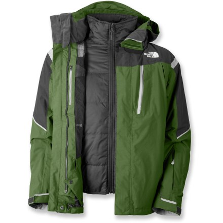 Ski The North Face Vortex Triclimate 3-in-1 jacket adapts and protects via the removable liner jacket. Stay warm making tracks without having to come inside for extra layers. 3 different ways to wear the system: wear shell jacket and zip-in liner jacket together for maximum protection or wear either piece on its own as weather warrants. Quiet and abrasion-resistant HyVent(TM) 2-layer coated nylon is completely waterproof, windproof and breathable; fully sealed seams prevent moisture seepage. Smooth and sleek, the liner of body and sleeves dries quickly and layers easily. Powder skirt with gripping elastic keeps snow out; pant-a-lock system creates a seamless fit with coordinating snow pants (sold separately). Dual chest pockets, wrist pocket (with goggle cloth) and an internal goggle pocket keep your essentials close by. Features zippered handwarmer pockets for chilly fingers; cinch adjustable hem and rip-and-stick wrist cuffs help seal out cold air and retain valuable warmth. Buddy clip keeps your lift pass close at hand for quick access in line. Fully adjustable, removable hood ensures a weather-blocking, personalized fit. Core zippered vents allow you to regulate body heat effectively. The North Face Vortex Triclimate zip-in/out liner jacket features zippered handwarmer pockets and an internal security pocket. Liner jacket uses Heatseeker(TM) 100g polyfiber insulation to keep you warm without inhibiting movement. Zip-in attachment system secures liner jacket and shell jacket together and allows easy reach-in access to the shell's interior features. - $202.93