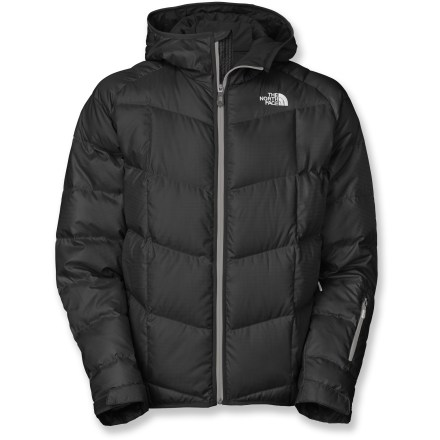 Ski Great on the slopes and long lift rides, The North Face Gatebreak Down ski jacket offers natural goose-down warmth in a tricked-out package. Ripstop polyester shell fabric is treated with a Durable Water Repellent finish that causes water to bead up and roll off, fending off light rain showers and snow. Insulated with quality 550-fill-power goose down for warmth, light weight and compressibility. Polyester lining wicks away moisture, blocks snow, dries quickly and eases layering. Hood is fully adjustable to ensure a weather-blocking, personalized fit. Features zip handwarmer pockets, internal media pocket, internal goggles pocket and forearm pocket with goggles cleaning cloth. Powder skirt with gripper elastic keeps snow out. Rip-and-stick adjustable cuffs and drawcord hem help seal out snow and cold air, and retain warmth. - $230.00