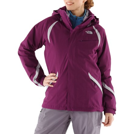 Ski The North Face Kira Triclimate 3-in-1 women's jacket precludes the need to come inside for extra layers. Wear the shell jacket and liner jacket together for maximum protection or wear either piece alone as conditions warrant. Fully seam-taped polyester shell jacket uses HyVent(TM) 2-layer coating for waterproof, breathable protection. Detachable hood is fully adjustable to ensure a weather-blocking, personalized fit. Body features a slick mesh lining to wick away moisture and ease layering. Features zippered front handwarmer pockets for chilly hands, chest pocket and forearm pocket with goggles cloth. Interior zip security pocket holds cash, ID, phone and other accessories; internal goggles pouch safely stows goggles or sunglasses. Gripper powder skirt with shock cords keeps snow out; snow pants attachment loops keep skirt in place for a seamless fit. The North Face Kira Triclimate shell has adjustable cuffs and a drawcord hem to help seal out snow and cold air while retaining warmth. Zip in/out polyester liner jacket features zippered handwarmer pockets. Liner jacket uses Heatseeker(TM) 100g polyfiber insulation to keep you warm without inhibiting mobility. Zip-in attachment system secures liner jacket and shell jacket together while still allowing easy reach-in access to the shell's interior features. - $202.93