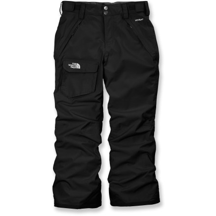 Ski The North Face Freedom insulated pants offer girls the warm, waterproof and breathable all-mountain performance they need for long days of play in the snow. Grow cuffs offer a simple way to extend cuffs by 2 in. once your child starts to outgrow the pants. Quiet and abrasion-resistant HyVent(R) coated nylon with fully sealed seams is completely waterproof, windproof and breathable. Nylon taffeta lining and 60g Heatseeker(TM) Aero polyester insulation keep young legs warm in the snow. Elastic waist features rip-and-stick adjustment tabs, a zipper fly and snap-front closure. Articulated knees offer freedom of movement. Elastic gaiters seal out snow around boots while retaining warmth; cuffs are reinforced for durability. The North Face Freedom insulated pants for girls feature zippered front pockets and a single roomy cargo pocket with rip-and-stick closure. - $110.00