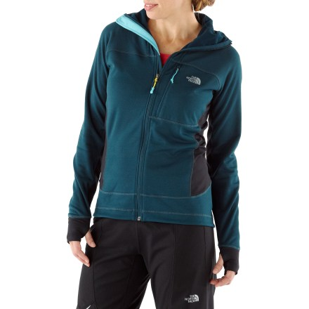 Camp and Hike The North Face Radish Mid Layer stretch fleece women's jacket is built for alpine pursuits in harsh weather. Pontetorto hard-face stretch fleece is extraordinarily durable, and the soft, brushed interior wicks moisture away from your skin. FlashDry(TM) fabric additive dramatically improves drying time and breathability without adding weight or bulk or washing out. Made of crushed coconut shells and crushed volcanic rock, FlashDry moves moisture from 1 layer to another to keep you dry. Fitted hood follows your head as it turns, allowing unobstructed views. The Radish Mid Layer jacket sports reinforced shoulder and hip zones for protection from backpack abrasion. Flatlock stitching increases comfort and enhances fit for layering. Laser-cut bonding (rather than stitching) creates a roomy-yet-sleek chest pocket. The North Face Summit Series(TM) apparel is designed and tested for use in harsh environments. - $113.83