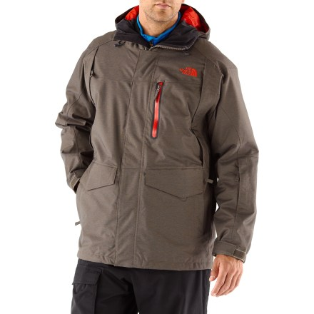 Ski The North Face Houser Triclimate 3-in-1 insulated jacket adapts to whatever weather the sky dishes up, featuring a reversible liner jacket that offers a bonus style option. Wear the shell jacket and snap-in liner jacket together for maximum protection, or wear either piece solo as weather warrants; reversible liner offers 4th wear option. Quiet and abrasion-resistant HyVent(R) 2-layer laminated nylon is completely waterproof, windproof and breathable; fully sealed seams prevent moisture seepage. Polyester taffeta and mesh lining dries quickly and offers smooth, easy layering. Fully adjustable hood ensures a weather-blocking, personalized fit. Powder skirt with elastic seals out snow, and snaps out of the way when not in use; pant-a-lock system connects to compatible pants (not included) for a continuous barrier. Warm chilly fingers back up in the dual-entry flap and zip handwarmer pockets; polyurethane zip chest pocket stashes an accessory or 2. Internal goggles pocket, wrist pocket (with goggles cloth) and external media pocket keep essentials close by. Adjustable hem and rip-and-stick wrist cuffs seal out cold air and retain valuable warmth. Buddy lift clip keeps your lift pass close at hand for quick access in line. Snap-in/out liner jacket uses Heatseeker(TM) 100g polyfiber insulation to keep you warm without inhibiting movement. Snap-in attachment system secures liner jacket and shell jacket together while still allowing easy reach-in access to the jacket's interior features. The North Face Houser Triclimate liner jacket features handwarmer pockets, no matter which side of the reversible liner faces outward. - $244.93