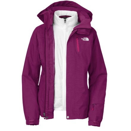 Ski Make the most of short days and deep powder with the waterproof, breathable protection of The North Face Cheakamus Triclimate 3-in-1 women's jacket. Wear the shell jacket and liner jacket together for maximum protection or wear either piece alone as conditions warrant. Fully seam-taped polyester shell jacket uses HyVent(TM) 2-layer laminate for waterproof, breathable protection. Detachable hood is fully adjustable to ensure a weather-blocking, personalized fit. Body features a slick mesh and taffetta lining to wick away moisture and ease layering. Features zippered front handwarmer pockets for chilly hands, chest pocket and forearm pocket with goggles cloth. Interior zip security pocket holds cash, ID, phone and other accessories; internal goggles pouch safely stows goggles or sunglasses. Gripper powder skirt with shockcords keeps snow out; snow pants attachment loops keep skirt in place for a seamless fit. The North Face Cheakamus Triclimate shell has adjustable cuffs and a drawcord hem to help seal out snow and cold air while retaining warmth. Zip in/out polyester liner jacket features zippered handwarmer pockets. Liner jacket uses Heatseeker(TM) 100g polyfiber insulation to keep you warm without inhibiting mobility. Zip-in attachment system secures liner jacket and shell jacket together while still allowing easy reach-in access to the shell's interior features. - $223.93