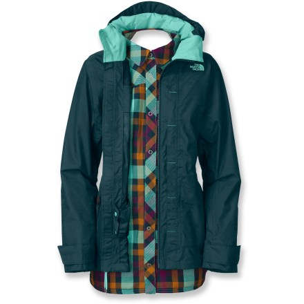 Ski With a snap-in flannel liner jacket, The North Face Felton Triclimate 3-in-1 women's jacket adapts to your needs on the slopes, at the lodge and around the cabin. Wear the shell jacket and liner jacket together for maximum protection or wear either piece alone as conditions warrant. Fully seam-taped nylon shell jacket uses HyVent(TM) 2-layer laminate for waterproof, breathable protection. Body features a slick taffeta lining to wick away moisture and ease layering. Hood is fully adjustable to ensure a weather-blocking, personalized fit. Features zippered front handwarmer pockets for chilly hands, chest pocket for small essentials. Interior media pocket holds phone or MP3 player; internal goggles pouch safely stows goggles or sunglasses. Snap-back powder skirt with gripper elastic keeps snow out; snow pants attachment loops keep skirt in place for a seamless fit. The North Face Felton Triclimate shell has adjustable cuffs and a drawcord hem to help seal out snow and cold air while retaining warmth. Snap in/out polyester liner jacket has the styling and coziness of your favorite flannel shirt; liner has snap front opening, chest pockets, snap cuffs and shirt-tail hem. Liner jacket uses Heatseeker(TM) 80g polyfiber insulation to keep you warm without inhibiting mobility. Snap-in attachment system secures liner jacket and shell jacket together while still allowing easy reach-in access to the shell's interior features. - $160.83