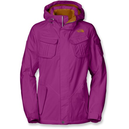 Snowboard Powder hounds rejoice! The North Face Decagon women's jacket provides all the weather protection and warmth-hoarding insulation you need for deep snow adventures. Quiet and abrasion-resistant 2-layer HyVent(R) laminate is completely waterproof, windproof and highly breathable. Heatseeker(TM) insulation offers a great warmth-to-weight ratio, is highly compressible and is extremely durable, making it ideal for cold weather activities. Contour hood is designed to fit the shape of your head, providing all-weather defense without impairing your vision or limiting your mobility. Pit zippers let you vent body heat quickly. Adjustable, snap-back powder skirt helps seal out cold air and wet snow while retaining valuable warmth. Pant-a-Locks interface lets you attach jacket to The North Face ski pants (sold separately). Decagon jacket features 2 internal pockets, 2 external chest pockets with flap closures, a sleeve pocket and zippered handwarmer pockets. Drawcord hem and rip-and-stick cuffs seal out the elements and retain warmth. - $153.93