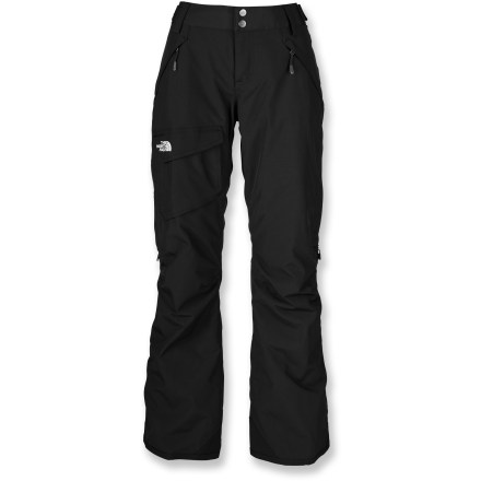 Ski The North Face Freedom Low-Rise Boot-Cut Insulated women's long-length snow pants allow enhanced motion on the move. They also stand up to winter temperatures with a waterproof, breathable laminate. Quiet and abrasion-resistant HyVent(TM) 2-layer laminated nylon is completely waterproof, windproof and breathable; fully sealed seams prevent moisture seepage. Embossed taffeta lining with Heatseeker(TM) 60g polyfiber insulation keeps you warm without inhibiting mobility. Articulated knees aid in fit, allowing freedom of movement. Outer thigh vents and internal leg gaiters with stretch-mesh gussets work together to control airflow and regulate temperature. Warmth is regulated by allowing cool, dry air to flow in through mesh gussets while heated, moist air rises and exits upper thigh vents. Leg gaiters feature elastic grippers to seal out snow around boots and help regulate warmth. Pants features zippered handwarmer pockets and a single roomy cargo pocket. Rip-and-stick tabs at side of waist and zipper fly with snap closure secure the fit. Reinforced cuffs resist abrasion from boots, boards and skis. The North Face Freedom Low-Rise Boot-Cut Insulated women's long-length snow pants feature a buddy lift clip to keep your pass close at hand. Pant-a-locks secure pants to coordinating jackets from The North Face (jacket not included). - $111.93