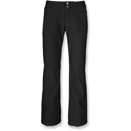 Ski The North Face crafted the STH women's snow shell pants in a classic design. Fitted, with a flared hem, these snowpants use soft-shell technology for dependable all-mountain use. The North Face Apex ClimateBlock soft-shell fabric is water-resistant and windproof, and maintains a comfortable level of breathability and 4-way stretch. Polyurethane-coated outer face provides near waterproof performance while soft fleece inner face traps and holds heat for comfort all day long. Durable Water Repellent finish increases water-, wind- and stain-resistance. Features zippered handwarmer pockets and a stash pocket on lower calf. Low-rise waist with concealed adjustment tabs allows you to dial in the fit. Stretch-mesh gaiter system with gripper elastic moves easily with boots while sealing out snow entry and allowing cooling airflow in. The North Face STH women's snow shell pants feature a buddy lift ticket clip for easy access to your pass. - $160.00