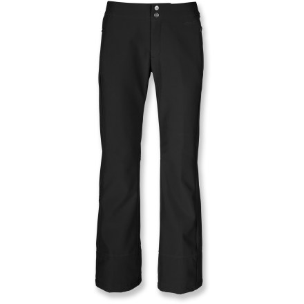 Ski The North Face crafted the STH women's snow shell pants in a classic design. Fitted, with a flared hem and in a long length, these snowpants use soft-shell technology for dependable all-mountain use. The North Face Apex ClimateBlock soft-shell fabric is water-resistant and windproof, and maintains a comfortable level of breathability and 4-way stretch. Polyurethane-coated outer face provides near waterproof performance while soft fleece inner face traps and holds heat for comfort all day long. Durable Water Repellent finish increases water-, wind- and stain-resistance. Features zippered handwarmer pockets and a stash pocket on lower calf. Low-rise waist with concealed adjustment tabs allows you to dial in the fit. Stretch-mesh gaiter system with gripper elastic moves easily with boots while sealing out snow entry and allowing cooling airflow in. The North Face STH women's snow shell pants feature a buddy lift ticket clip for easy access to your pass. - $111.93