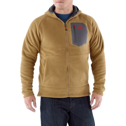 Camp and Hike Don't underestimate the importance of a warm layer like The North Face Chimborazo hoodie when you're setting out on a cold-weather hike. 2-layer bonded polyester fleece has a soft brushed face and a warm sherpa backing to fend off frigid temps. Underarm gussets allow a good range of motion. Zippered hand pockets and a zippered chest pocket give you space to stow your essentials. Cinch the hem around your waist to keep cold air out. - $74.93