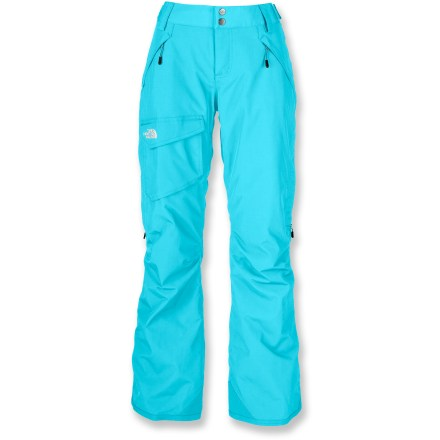 Ski The North Face Freedom Low-Rise Boot-Cut Insulated women's short-length snow pants allow enhanced motion on the move. They also stand up to winter temperatures with a waterproof, breathable laminate. Quiet and abrasion-resistant HyVent(TM) 2-layer laminated nylon is completely waterproof, windproof and breathable; fully sealed seams prevent moisture seepage. Embossed taffeta lining with Heatseeker(TM) 60g polyfiber insulation keeps you warm without inhibiting mobility. Articulated knees aid in fit, allowing freedom of movement. Outer thigh vents and internal leg gaiters with stretch-mesh gussets work together to control airflow and regulate temperature. Warmth is regulated by allowing cool, dry air to flow in through mesh gussets while heated, moist air rises and exits upper thigh vents. Leg gaiters feature elastic grippers to seal out snow around boots and help regulate warmth. Pants features zippered handwarmer pockets and a single roomy cargo pocket. Rip-and-stick tabs at side of waist and zipper fly with snap closure secure the fit. Reinforced cuffs resist abrasion from boots, boards and skis. The North Face Freedom Low-Rise Boot-Cut Insulated women's short-length snow pants feature a buddy lift clip to keep your pass close at hand. Pant-a-locks secure pants to coordinating jackets from The North Face (jacket not included). - $111.93