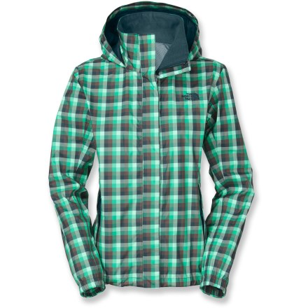 Rainy days don't have to equal boring days when you wear the Novelty Resolve jacket from The North Face. Zip up this plaid rain jacket and get out despite the weather. HyVent(R) 2-layer construction offers waterproof, breathable, seam-sealed protection; performance lining wicks moisture from body to keep you warm and dry on the inside. Full front zipper is disguised by a fold-over panel held in place with rip-and-stick closures; brushed chin guard ensures next-to-skin comfort. Adjustable hood rolls down and stows inside its own collar. Cinch the hem drawcord to keep cold air out. 2 zippered hand pockets hold your essentials. The North Face Novelty Resolve jacket has a standard fit. - $58.83