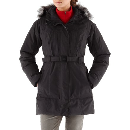 The North Face Brooklyn jacket prevents old man winter from cramping your style- with insulated, waterproof protection, fridgid, cold weather is no match for the Brooklyn jacket. Made with waterproof, breathable, seam-sealed HyVent(TM) 2-layer fabric on the exterior, this resilient, insulated winter jacket reaches mid-thigh for added coverage. Insulated with quality 550-fill-power goose down for warmth, light weight and compressibility. Tuck your head into the insulated hood trimmed with removable faux fur; drawcord cinch hood seals in warmth. Front zipper features a snap-close external stormflap. Internal fleece cuffs seal in warmth. Cinch the slim waist belt tight to ward off gusts of snow and wind and shape the fit. The North Face Brooklyn has 2 zip handwarmer pockets, 2 Napoleon chest pockets and an internal security pocket. - $148.83
