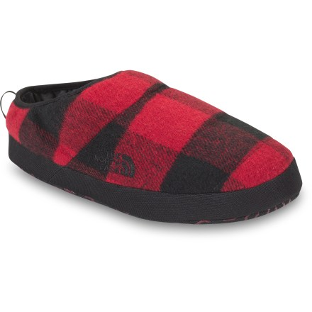 Camp and Hike The NSE Tent Mule III SE slippers from The North Face offer cozy, versatile wear for shuffling around the campsite or cabin. Water-resistant and hardy uppers feature a blend of wool and polyester to ensure comfort; abrasion-resistant rands provide structure required for a sure fit. 500-fill-power goose down insulation provides warmth without bulkiness. Footbeds feature a plush combination of EVA and foam to ensure underfoot comfort. EVA midsoles absorb shock, cushion feet and provide gentle support. The North Face NSE Tent Mule III SE slippers have durable nylon mesh outsoles with rubber lugs for firm, lightweight traction. - $30.93