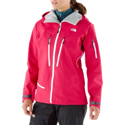 Ski The North Face Free Thinker women's jacket sports a rugged Gore-Tex(R) Pro Shell to give bold freeriders the opportunity to thrive all day in harsh, backcountry conditions. Sturdy Gore-Tex Pro Shell uses 3-layer construction for superb durability, light weight and waterproof, windproof, breathable protection. Fully taped seams prevent water from penetrating through seams. Fully adjustable hood protects you in stormy weather; roomy enough to fit over your helmet. Core vents feature polyurethane-coated zippers to dump excess heat and provide cooling ventilation while resisting the elements. Secure chest pockets, bicep utility pocket (with goggles cloth) and hemline accessory pocket also feature weather-resistant, polyurethane-coated zippers. Internal storage options include a secure media pocket and a utility stash pocket. Powder skirt helps seal out cold air and snow entry; pant-a-locks tabs let you connect the powder skirt to compatible pants (sold separately) for a seamless protective barrier. Cuffs feature rip-and-stick adjustment for a comfortable fit that helps to retains warmth. Embedded RECCO(R) reflector enhances radio signals from search-and-rescue RECCO detectors for quicker acquisition of position in an avalanche. As part of The North Face Summit Series, the Free Thinker jacket features cutting-edge fabrics and the most advanced technology for the ambitious, technical skier or rider. - $313.93