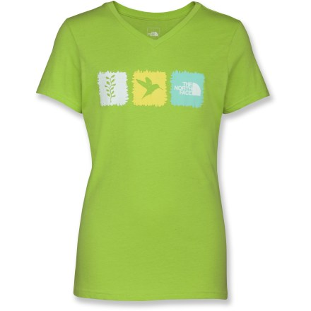 The North Face Amorie V-Neck T-shirt is cute and comfortable-she'll love it. Cotton is naturally soft, breathable and comfortable. Closeout. - $12.93