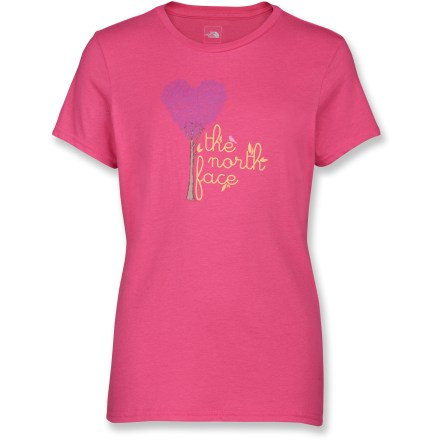 The North Face Loving Tree T-shirt outfits her for a day of play. Cotton is naturally soft, breathable and comfortable. Closeout. - $12.93