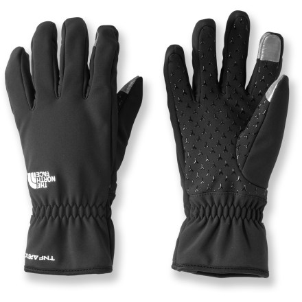 Fitness Send texts and surf the web with the Etip Apex gloves from The North Face. The water-resistant gloves perform day-in and day-out to keep fingers warm while you take on cool-weather adventures. X-static(R) fabric on the thumbs and index fingers allows you to work your touch-sensitive devices such as cell phones, digital music players or laptop computers. Polyester/elastane soft-shell exteriors resist moisture and breathe well; Durable Water Repellent finish sheds light snow and moisture. Brushed tricot lining wicks moisture and is soft next to skin. The North Face Etip Apex gloves have synthetic gripper palms that allow easy handling of tools and equipment. Articulated fingers and thumb allow easy grip and dexterity, and reduce hand fatigue. - $55.00