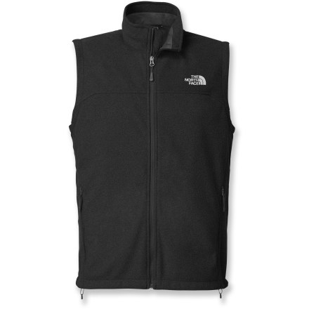 Camp and Hike The North Face WindWall 1 men's vest furnishes core warmth on moderately cold days and excellent insulation when layered. WindWall 1 is made from 100-weight fleece and delivers wind-resistant warmth in moderate cold and provides excellent insulation when layered. WindWall 1 fabric blocks about 80% of the wind yet still allows enough airflow to ensure a dry, comfortable fit. The North Face WindWall 1 vest features a mesh backer fabric and utilizes a unique fabric-bonding process that allows limited external air permeability. Features windflap-backed full-length front zipper, hem drawcord and 2 zippered hand pockets. Regular fit eases layering. - $68.93