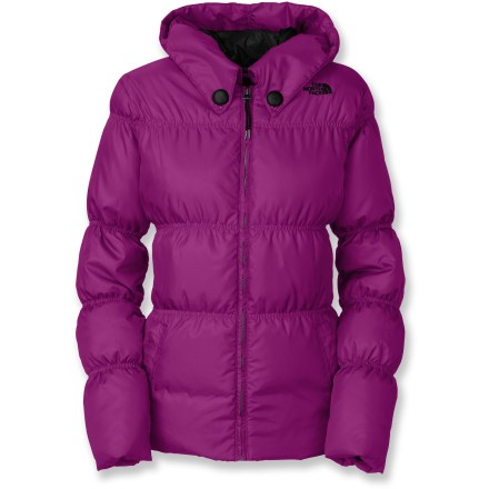 Ski This lightweight The North Face Totally Down jacket is street-styled for sunny, spring days and ripping up the mountain. Water-resistant, breathable mini-ripstop polyester taffeta shell with a polyester taffeta lining eases layering and envelops naturally warm, goose down insulation. 550-fill-power goose down provides a warm insulating layer to keep you toasty; goose down is the lightest, warmest and most compressible insulation available. Secure zippered handwarmer pockets and an internal media pocket. Snap-back powder skirt with gripping elastic keeps snow out. Adjustable hem cord blocks cold air while retaining valuable warmth. - $160.93