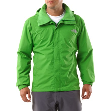 Heading to the trail? Choose the Resolve rain jacket from The North Face and be prepared for whatever the weather may bring. HyVent(R) 2.5-layer fabric has a waterproof barrier and a minimal, microporous inner print that channels moisture outward and protects the microporous layers underneath. Durable ripstop fabric stands up to wear and tear; mesh lining wicks moisture away for all-day comfort. Jacket fully seam sealed. Hood stows in collar when not in use. Zippered hand pockets keep small items secure. Drawcord hem seals out the cold. Closeout. - $43.83