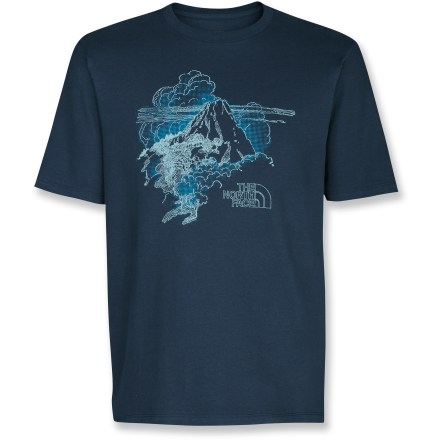 Entertainment The North Face Trinalto T-shirt sports a sweet mountain graphic with billowing clouds that match the shirt's soft cotton comfort. Cotton fabric is naturally soft, breathable and comfortable. Closeout. - $19.93